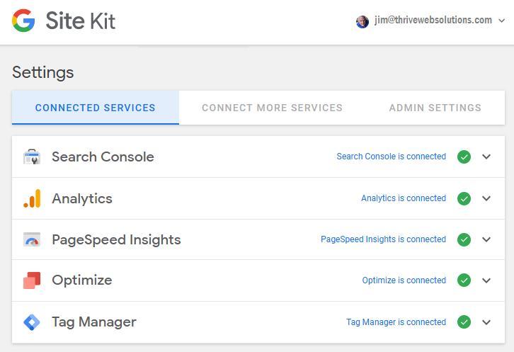 Screen Print of Google Site Kit