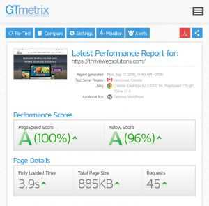 Thrive Scores 100% in GTMetrix Test